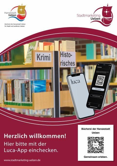 Luca-App Plakat der Stadtbücherei