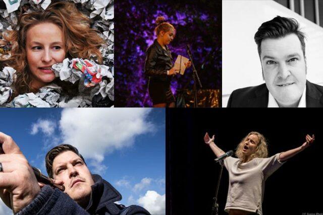 Poetry Slam Collage (c) von links nach rechts: Monika Mertens, Vilja Gunzelmann, Sven Kamin, Sven Fernröhrlkl, Christopher Greis